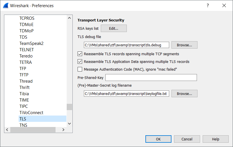 Wireshark TLS Preferences