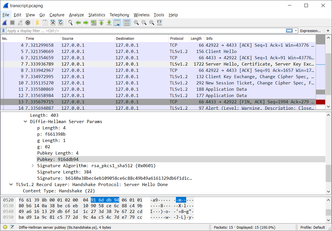 Wireshark Disection TLS Exchange